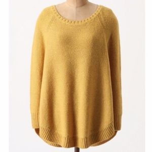 Anthropologie sweeping stitches yellow sweater